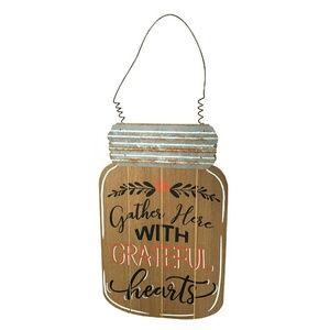 Other - Grateful Hearts Wood Mason Jar Wall Decor
